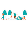 people spending time with pets outdoors male vector image vector image
