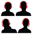 people with headphones black silhouette vector image