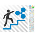 person climbing to ripple flat icon with bonus vector image vector image