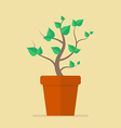 Plant in pot flat icon vector image vector image