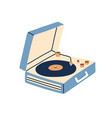 portable turntable with vinyl playing retro music vector image