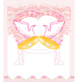 romantic card with love birds and golden wedding vector image