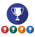 round icon of winner trophy cup flat style with vector image