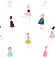 seamless pattern with fashion girls modern style vector image