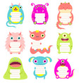 set cute cartoon monsters with memo pads vector image