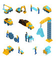 set isometric icons for construction workers vector image