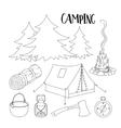 Set of camping equipment symbols vector image