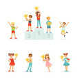 smiling young boys and girls celebrating their vector image vector image