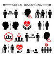 social distancing during pandemic icons vector image vector image