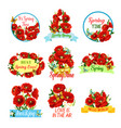 spring flower bouquet isolated icon set vector image vector image