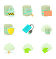 storage technology icons set cartoon style vector image vector image
