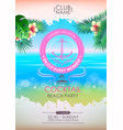 summer disco poster cocktail beach party vector image vector image