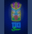 tiki bar neon signboard vector image