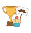 trophy with moustache and muffin vector image vector image