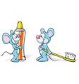 two mice with toothpaste and toothbrush vector image