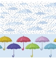 Umbrellas and rain seamless background vector image