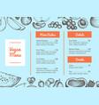 vegan cafe menu hand drawn typographic design vector image vector image