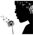 woman portrait with dandelion vector image