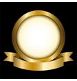 a gold circle with ribbon emblem vector image