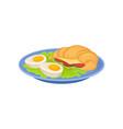 appetizing croissant sandwich two halves of vector image vector image