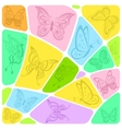 background mosaic with butterflies vector image vector image