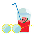 beating heat with sunglass and watermelon vector image vector image