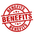 benefits round red grunge stamp vector image vector image