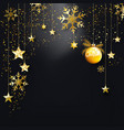 black christmas background with gold glitter vector image vector image