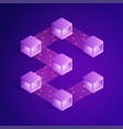 blockchain isometric composition vector image