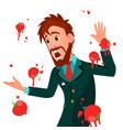 businessman having tomatoes fail speech vector image vector image