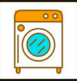 cartoon white washing machine with orange top vector image