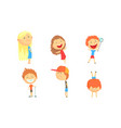children with big heads relax in summer vector image vector image