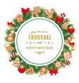 christmas and new year round frame traditionaly vector image vector image