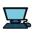 computer with keyboard and mouse icon vector image vector image