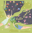 cute girls with long hair lying on grass vector image