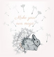 cute little bunny with dandelions vector image