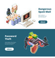 cyber security banners hacker attack spam email vector image