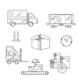 Delivery shipping and logistics icons vector image vector image