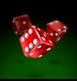 dice set on flight under green table vector image