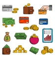 Finance and banking sketched icons vector image
