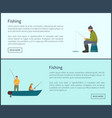 fishing men waiting for fish vector image vector image
