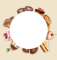 frame made of different dessert vector image