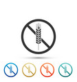 gluten free grain icon isolated no wheat sign vector image