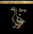 golden and royal hand drawn emblem of farm goose vector image vector image