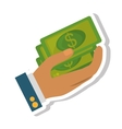 hand human with bills money dollar isolated icon vector image vector image