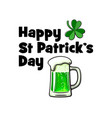 happy saint patricks day card with text lucky vector image
