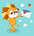 happy valentines day with cute lion valentines vector image