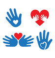 helping hand with heart shape vector image vector image