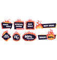 hot sale badges fire deal banner hot price badge vector image