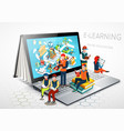 laptop as a book the concept of learning online vector image vector image